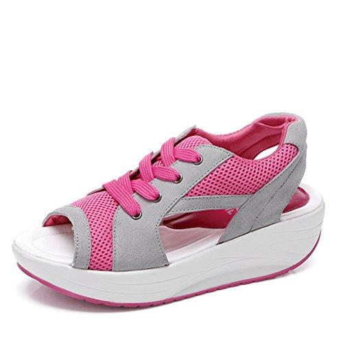 ウェッジソールサンダルレディース厚底靴スニーカー美脚パンプスオープントゥウォーキングシューズ軽量夏メッシュレースアップヒールミュールサンダルランニングフィットネススポーツシューズ