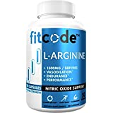 Fitcode Pure Extra Strength L-Arginine HCl 1500mg, Nitric Oxide Supplement for Vascularity, Pumps, Endurance, Performance, Mu