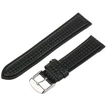 hadley-romaメンズmsm840ra-20020-mmブラックCarbon Fiber with Leather Backing腕時計ストラップ