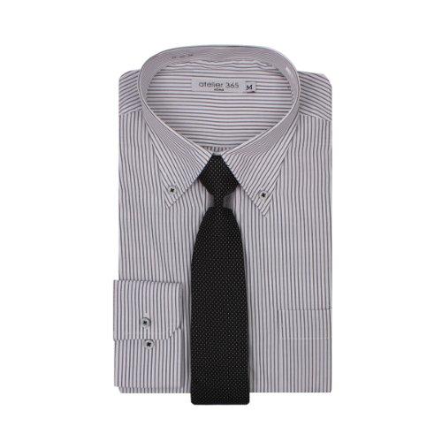 高品質ワイシャツ&ネクタイ付きワイシャツ長袖形態安定Yシャツ【ドレスシャツ】 AT105-A5-ブラックストライプBD