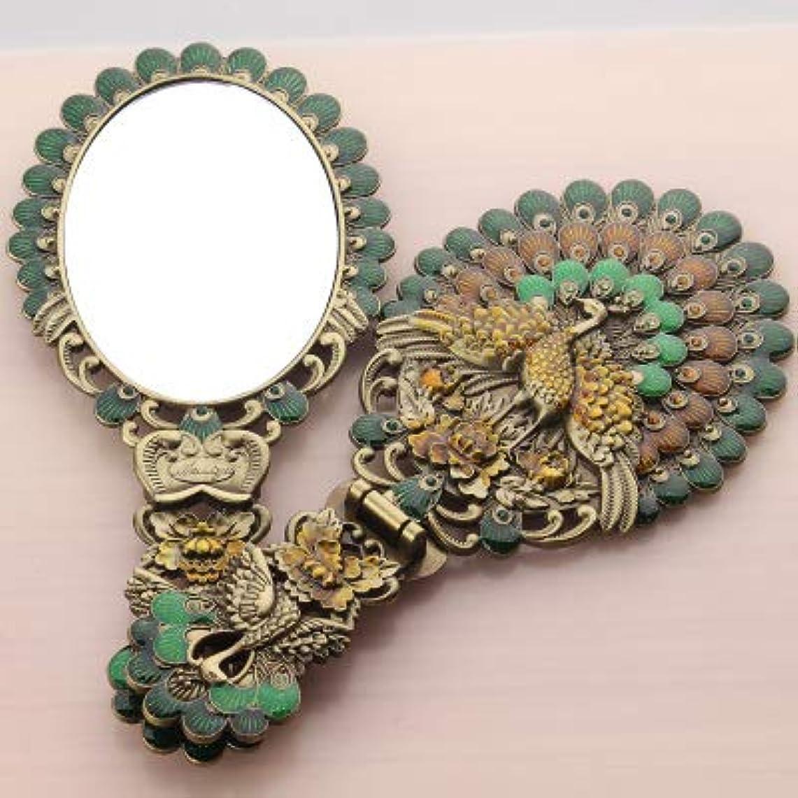 契約した連邦シフトAZure アンティーク風 手鏡 ミラー 孔雀 モチーフ 折り畳み インテリア 欧風 レトロ ヨーロッパ デザイン 古風