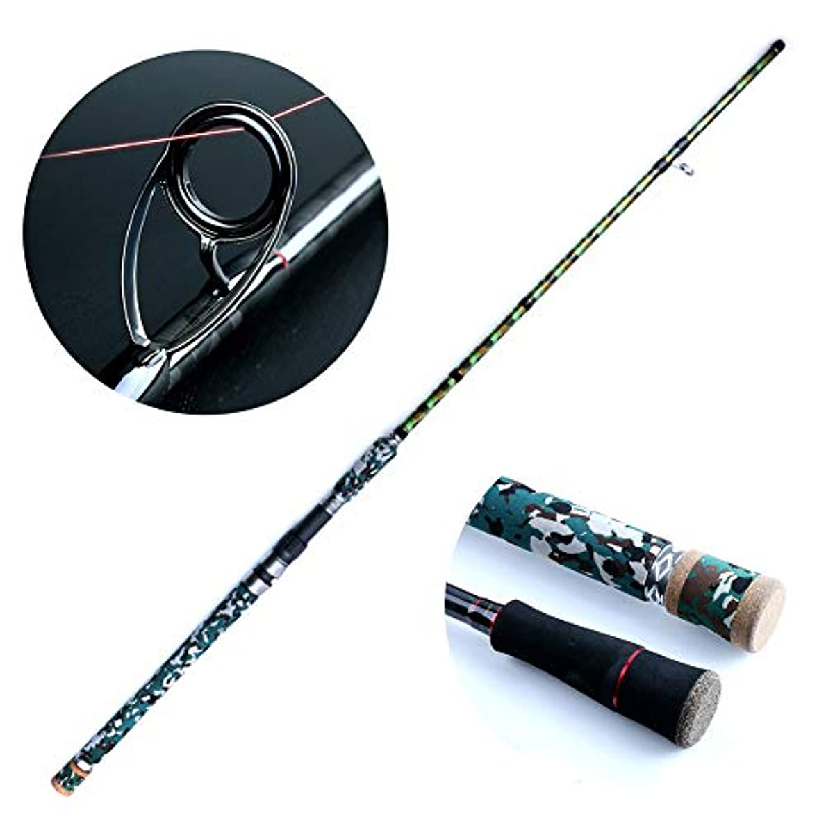 黒魚のためのXH調性釣り、ポータブル釣り竿コンボ高密度カーボンウルトラライト、草エリア用釣りリール