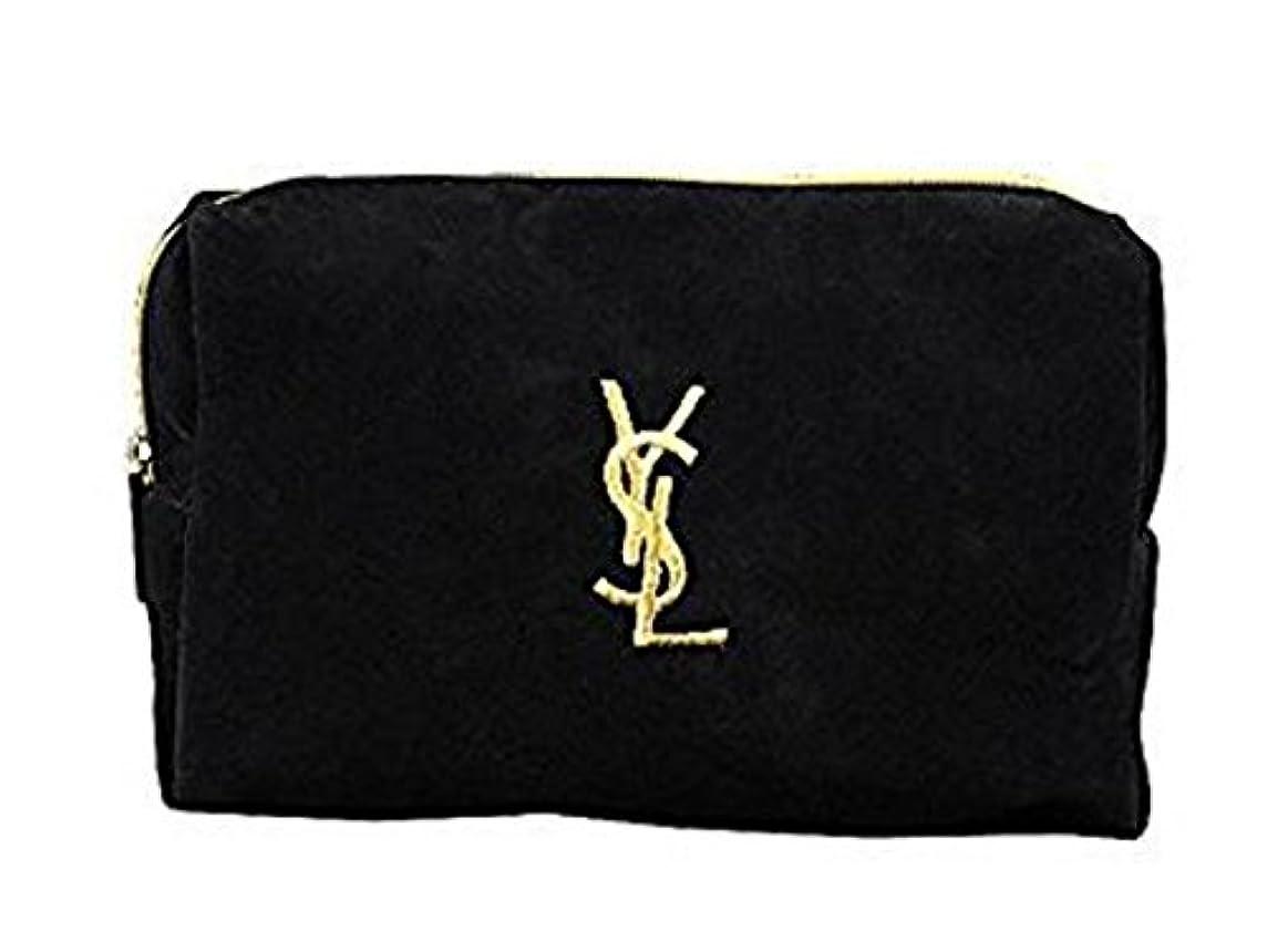 シンプルな立ち向かう無駄なイヴ サンローラン Yves saint Laurent ポーチ 小物入れ ロゴ イエロ ブラック 化粧ポーチ 化粧 メイク コスメ アイシャドー ブラシ1本 付き