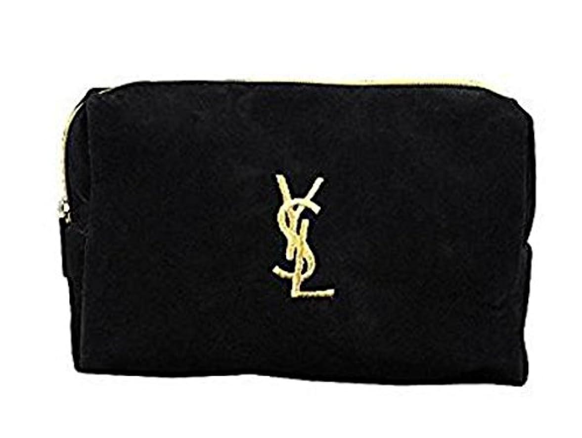 適合ジェスチャー引き潮イヴ サンローラン Yves saint Laurent ポーチ 小物入れ ロゴ イエロ ブラック 化粧ポーチ 化粧 メイク コスメ アイシャドー ブラシ1本 付き