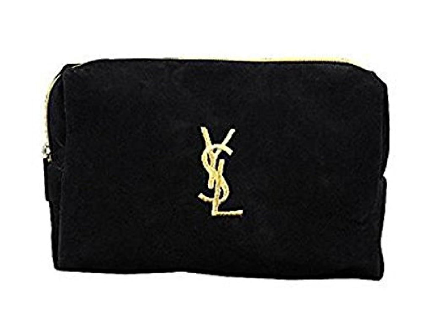 新鮮なキリスト教盆イヴ サンローラン Yves saint Laurent ポーチ 小物入れ ロゴ イエロ ブラック 化粧ポーチ 化粧 メイク コスメ アイシャドー ブラシ1本 付き