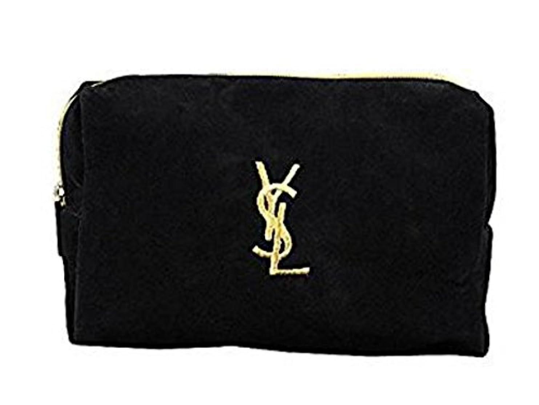 郵便物バンク覚えているイヴ サンローラン Yves saint Laurent ポーチ 小物入れ ロゴ イエロ ブラック 化粧ポーチ 化粧 メイク コスメ アイシャドー ブラシ1本 付き