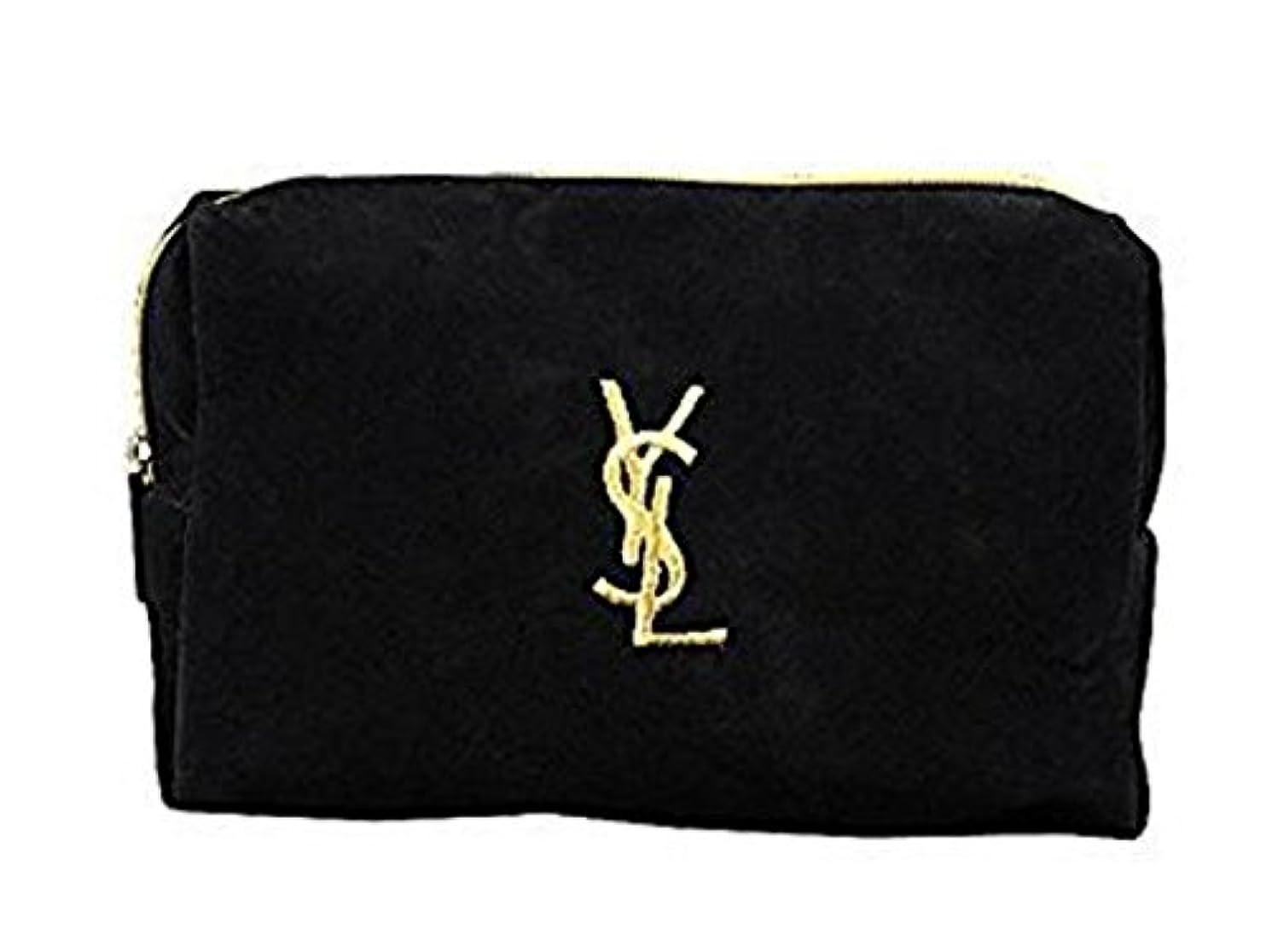 バット仮装飼いならすイヴ サンローラン Yves saint Laurent ポーチ 小物入れ ロゴ イエロ ブラック 化粧ポーチ 化粧 メイク コスメ アイシャドー ブラシ1本 付き