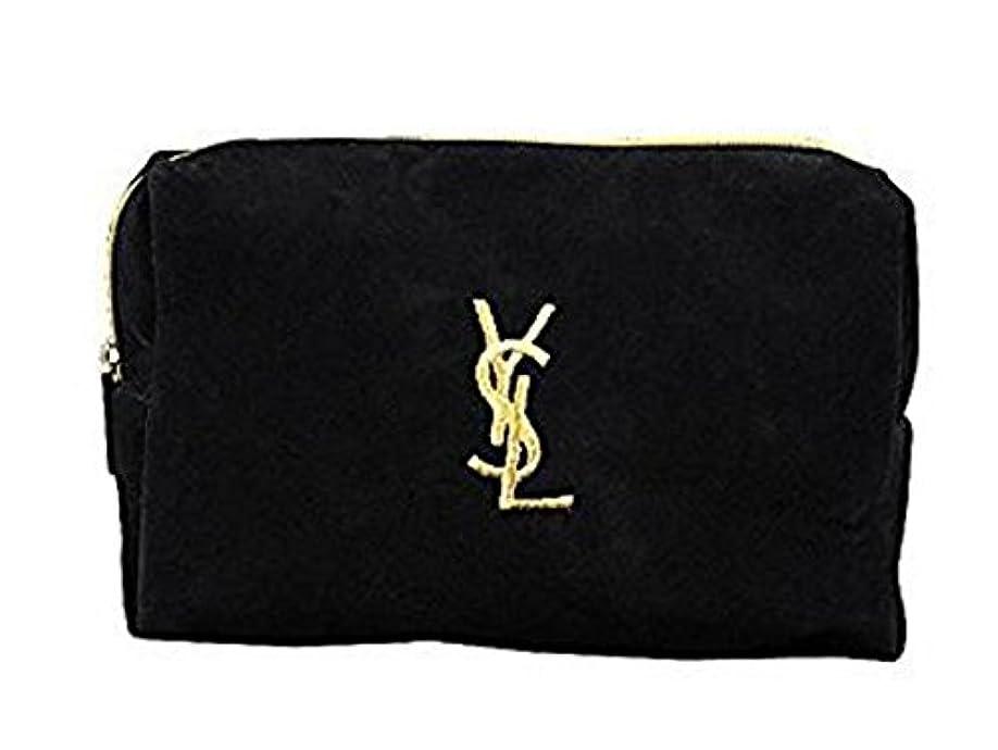 悲観主義者金貸しネクタイイヴ サンローラン Yves saint Laurent ポーチ 小物入れ ロゴ イエロ ブラック 化粧ポーチ 化粧 メイク コスメ アイシャドー ブラシ1本 付き