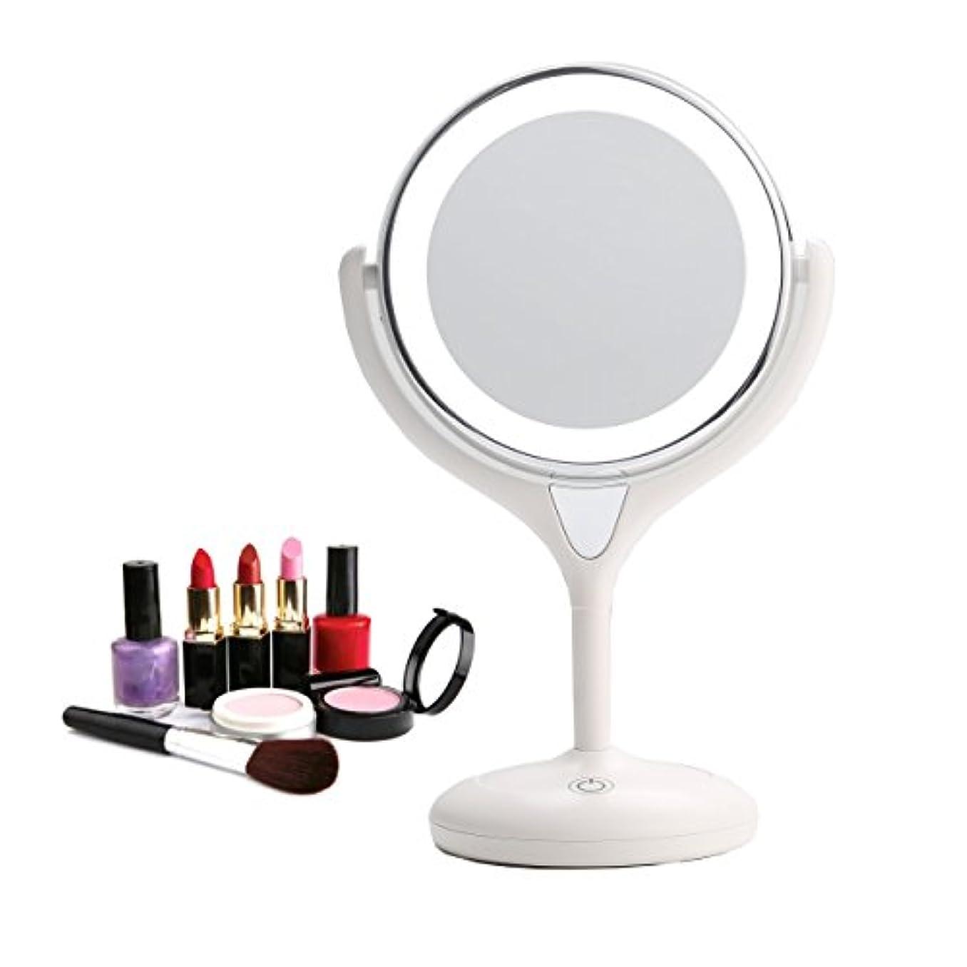 圧縮する晩ごはん安心させるBestaid-スタンドミラー シンプルデザイン 真実の両面鏡DX 10倍拡大鏡 360度回転 卓上鏡 メイク 化粧道具 14 * 11.5 * 28.5cm