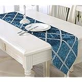 LilyAngel テーブルクロス明るいシルクシンプルなプリズム布フランネルの長方形のコーヒーテーブルテーブルフラグテーブルクロスホームデコレーションに適用 (Color : ブルー, サイズ : 28*207CM)