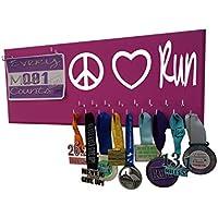 Running on the Wall – Race Bib and Medal表示rack-壁マウントスポーツメダルホルダーとハンガー5、K 10 K、マラソンランナー – 平和愛の実行