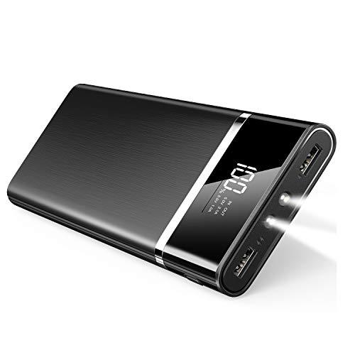 24000mAh モバイルバッテリー 大容量 lcd残量表示 ledライト付く 2USBポート スマホ充電器 持ち運び 防災グッズ 旅行/出張/アウトドア活動 iPhone&Android対応 (ブラック)