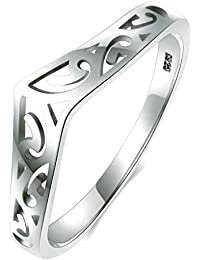 BORUO 925 Sterling Silver Ring Filigree Thumb Chevron High Polish Comfort Fit Band Ring
