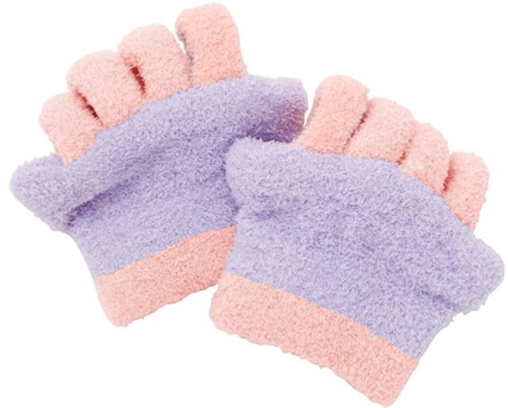 工場規制するショッキング眠れる森の5本指ふわもこソックス 足指タイプ パープル 0