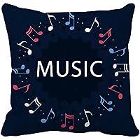 形の音楽ノートレッドブルーラウンド 枕を挿入して正方形の家のソファのクッション?カバーを放り投げてください 50cm x 50cm