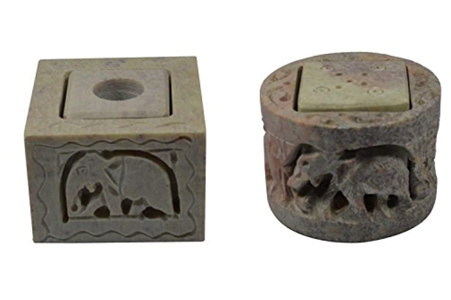 先史時代の突っ込むトチの実の木Royal Handicrafts Handcrafted Soapstone Candle & Incense Holder With Elephant Carving - Set of 2