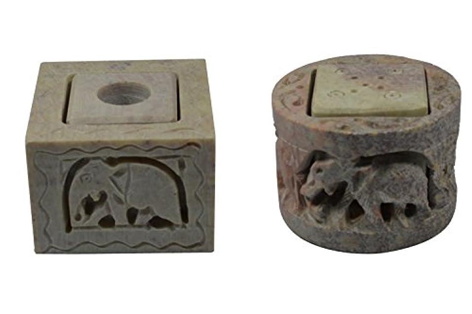 後退する空中憂鬱なRoyal Handicrafts Handcrafted Soapstone Candle & Incense Holder With Elephant Carving - Set of 2