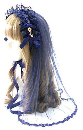 Hachigo(Hachigou)哥特式的禮帽發飾面紗玫瑰喀秋莎十字交叉花邊織帶裝飾的魅力頭骨裝飾哥特式洛麗塔洛麗塔配件