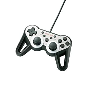 ELECOM ゲームパッド USB接続 12ボタンアナログスティック搭載 振動/連射 高耐久 【ファイナルファンタジーXIV: 新生エオルゼア推奨】 ダークシルバー JC-U3312SSVD