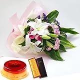 誕生日プレゼント 花 母親 祖母 銀座 千疋屋 マロンプリンA & ユリの花束(ピンク)