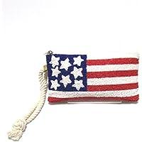 【Swaraj Bag】ビーズロゴポーチ-星条旗