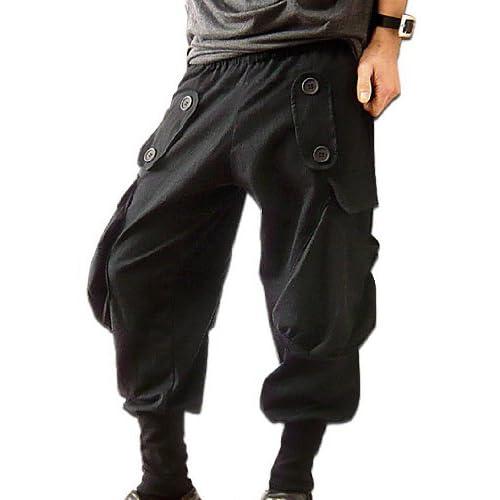 Clack メンズ パンツ / サルエルパンツ ロング ボリューム ボトムス カーゴポケット付き 無地 ブラック Free [ 綿100% ] 【正規品】