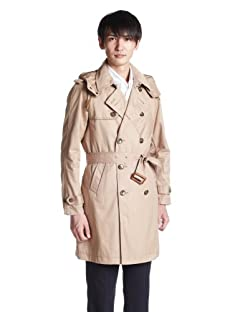 Beams Cotton Hooded Trench Coat 11-19-0703-152: Beige