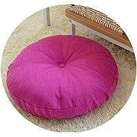 リネン布団クッションは、ラウンドファブリック床瞑想和風バルコニー窓の畳のクッション,取り外し可能で洗濯可能な赤色,直径45cm、厚さ15cm