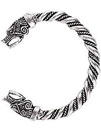 QIANJI Viking Fenrir Wolf Bracelet Bangle Twisted Wire