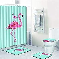 厚いバスルームセット - バスルームカーテンバスルームマットセットトイレセット16個 - フラミンゴ2シリーズ-8821