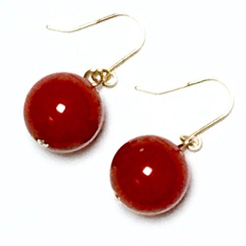 K18ピアス 高品質 赤珊瑚(レッドコーラル)血赤色 10mm 大粒 天然石 K18YG フックピアス 18金イエローゴールド/ピアスキャッチ付き