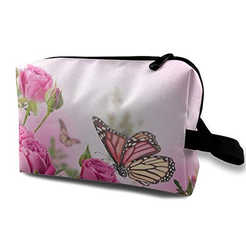 水平丁寧髄Butterfly Fliying On The Pink Rose 収納ポーチ 化粧ポーチ 大容量 軽量 耐久性 ハンドル付持ち運び便利。入れ 自宅?出張?旅行?アウトドア撮影などに対応。メンズ レディース トラベルグッズ