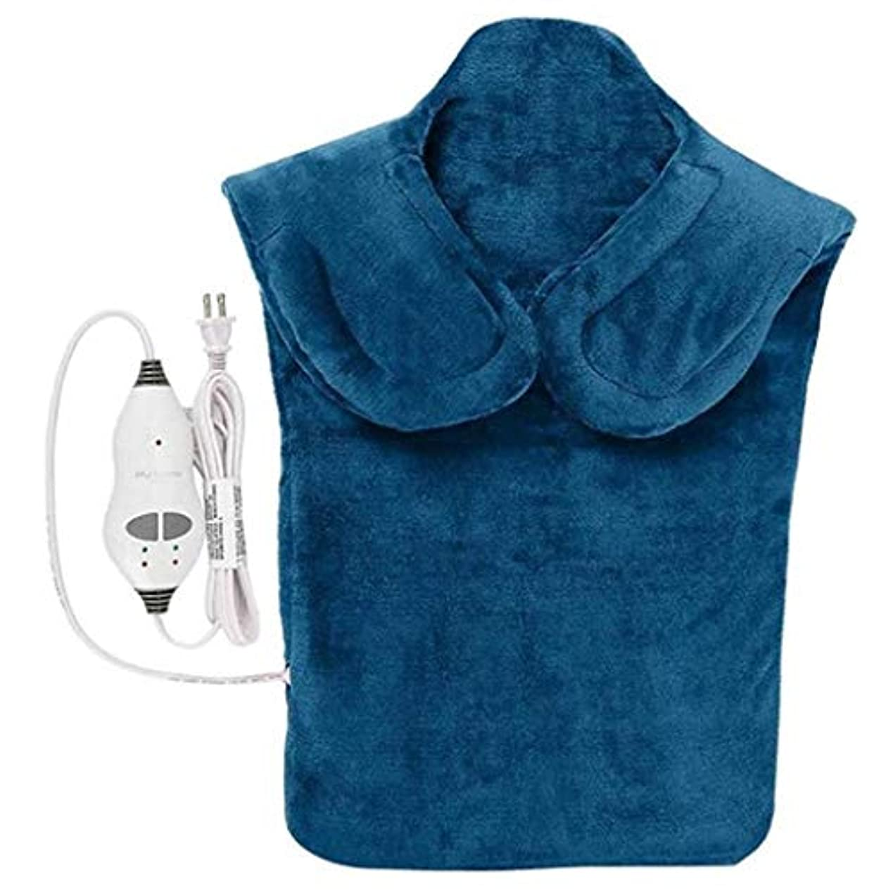 ルネッサンス魂レパートリーネックマッサージャー、電気マッサージ器、首暖房パッド、フランネルヘルスケアパッケージ首/肩/戻る血液循環を促進、筋肉の痛みを和らげる、暖かい保つために (Color : 青, Size : One size)