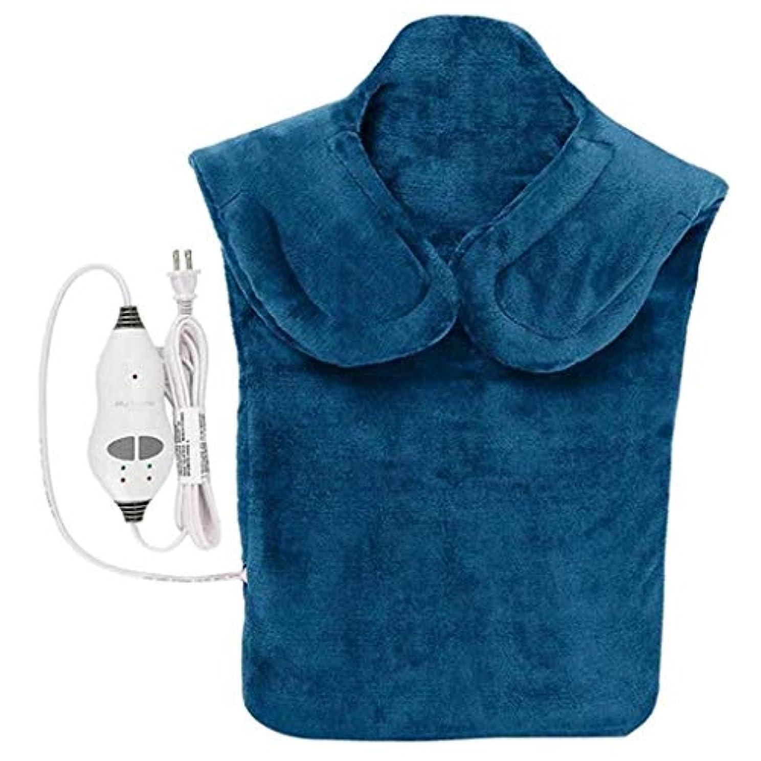 温室戦士エールネックマッサージャー、電気マッサージ器、首暖房パッド、フランネルヘルスケアパッケージ首/肩/戻る血液循環を促進、筋肉の痛みを和らげる、暖かい保つために (Color : 青, Size : One size)