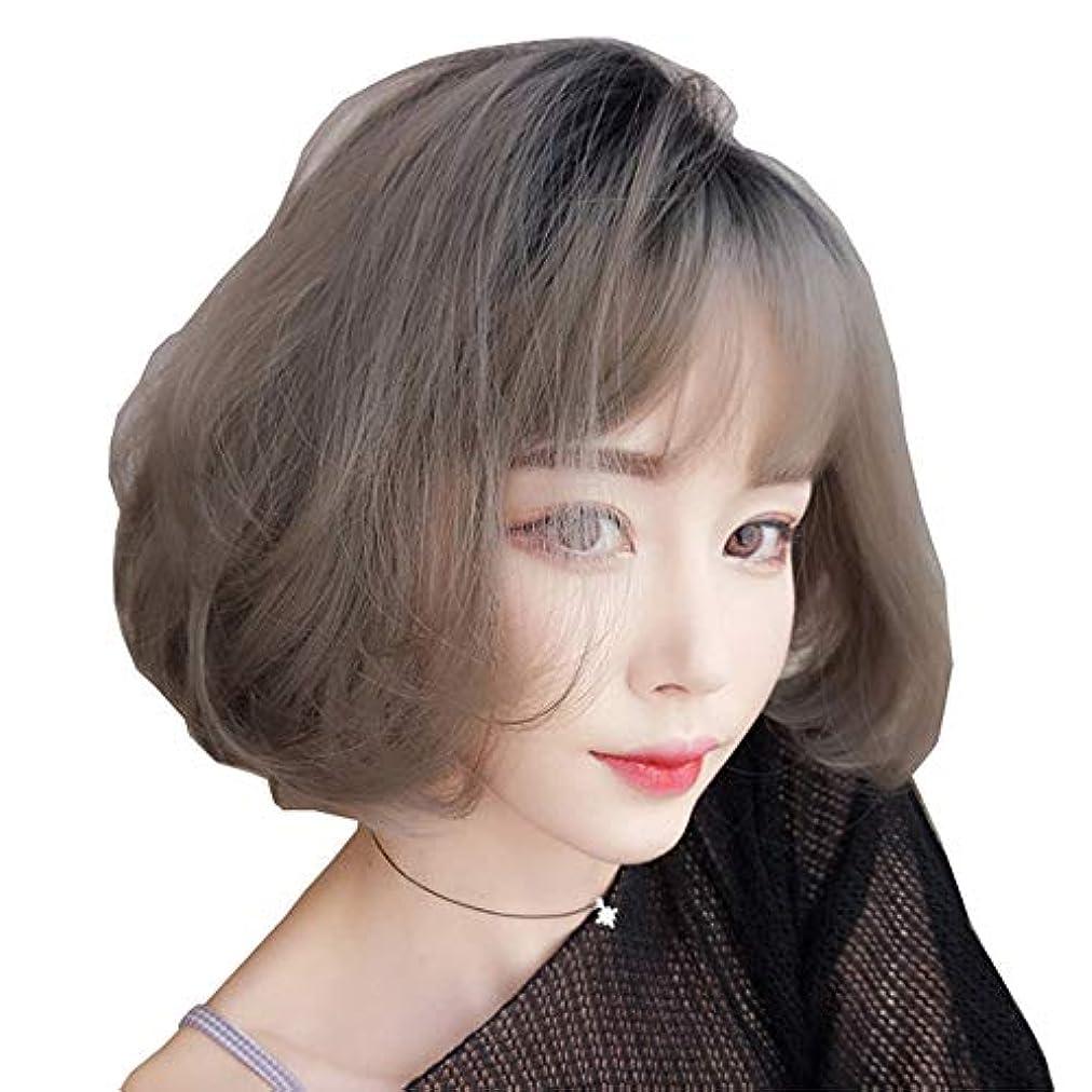 無視する担保貨物SRY-Wigファッション グレーショートウィッグボブスタイルファッションナチュラルストレート合成グレーレディースウィッグ前髪付き10インチソフトヘアグレーウィッグ