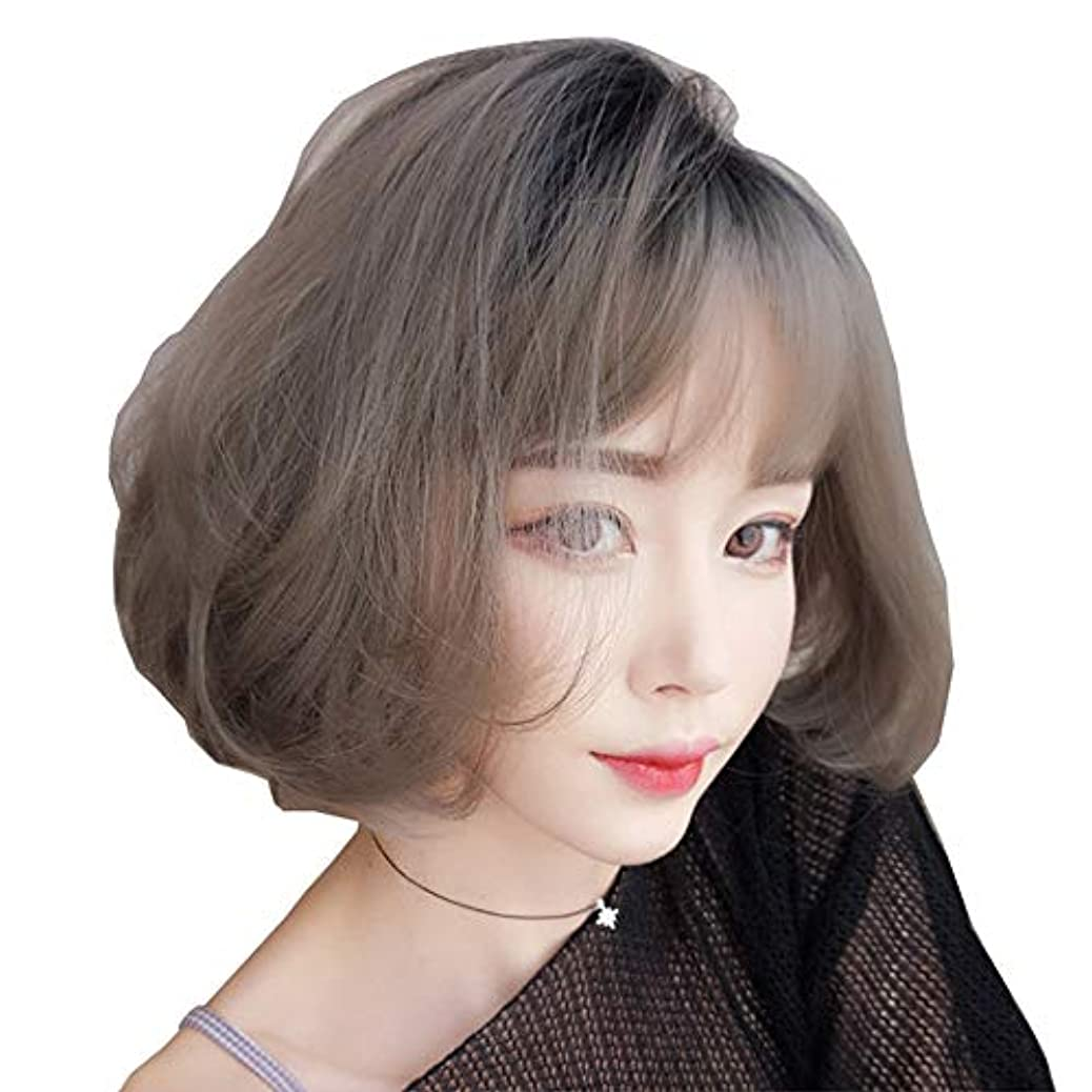 区学習者火曜日SRY-Wigファッション グレーショートウィッグボブスタイルファッションナチュラルストレート合成グレーレディースウィッグ前髪付き10インチソフトヘアグレーウィッグ