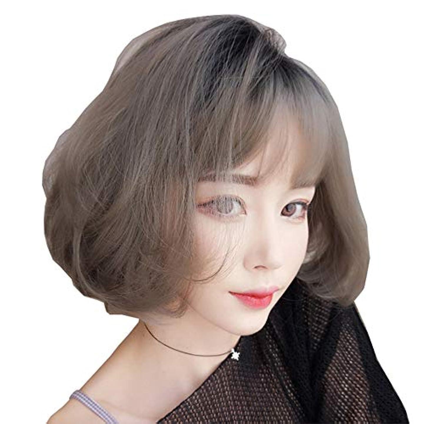 SRY-Wigファッション グレーショートウィッグボブスタイルファッションナチュラルストレート合成グレーレディースウィッグ前髪付き10インチソフトヘアグレーウィッグ