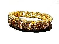 アクセリオ M000037 喜平ブレスレット ゴールド ジルコニア ラインストーン 重量感 ゴールドアクセサリー 上品 ブレスレット