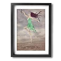 My Life 鳥と緑の踊りの女性 木製の枠 キャンバス絵画 アートパネル インテリアアート 家の壁の装飾画 壁飾り 壁ポスター おしゃれ 壁アート写真の装飾画の壁画 - 白黒