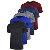 Liberty Imports 5 Pack Men's Active Quick Dry Crew Neck T Shirts | Athletic Running Gym Workout Short Sleeve Tee Tops Bulk