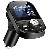 LEHXZJ FMトランスミッター Bluetooth5.0 高音質 ハンズフリー通話 microSDカード/USBメモリに対応 2 USBポート(5V/2.1A&1A)日本語メニュー EQ設定 4つ楽曲プレーモード 12V/24V車対応 日本周波数