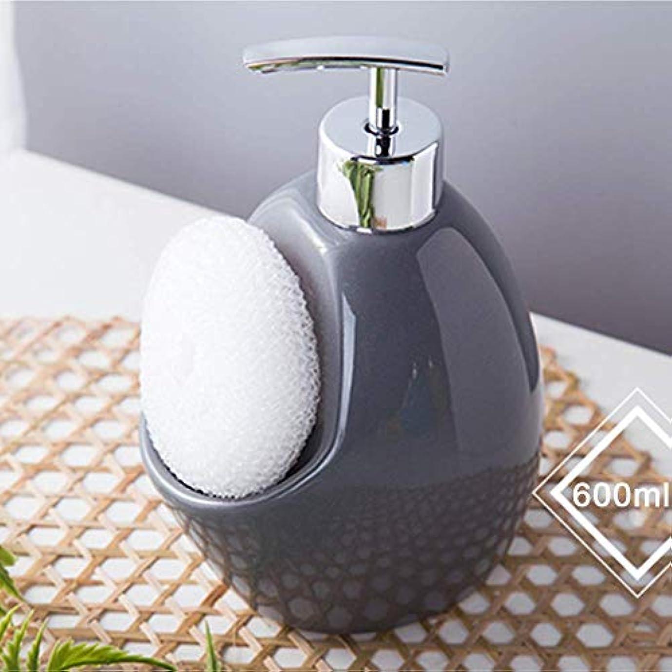 チャップ一掃する拒否ソープディスペンサー液体、手動ポンプボトル、詰め替え可能-食器用洗剤/ハンドソープ/シャワージェル、セラミック-600ml(青、グレー)
