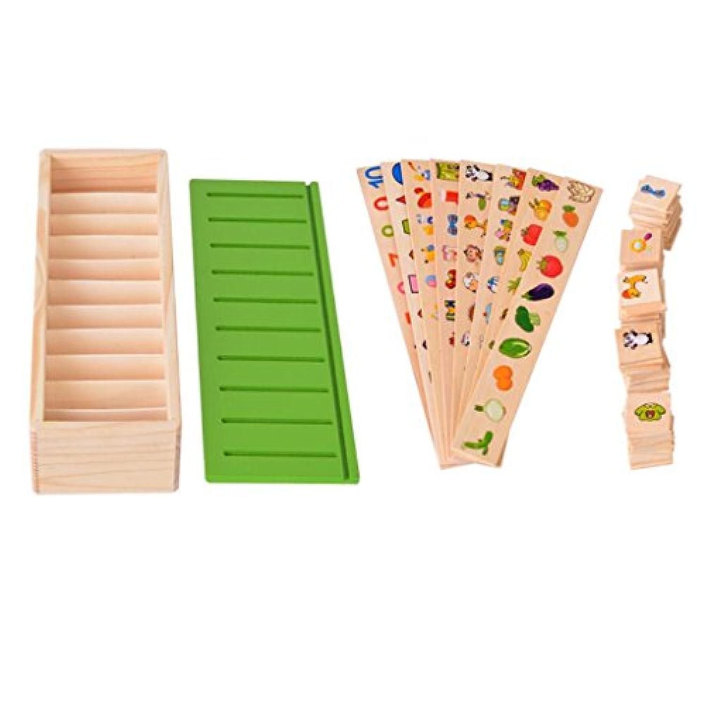 Dovewill 80個入り 木製 ソートボックス 形合わせ 野菜 果物 知育玩具 想像力 プレゼント