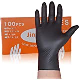 Nbr使い捨て手袋ラテックスニトリル帯電防止ゴム実験機械美容院タトゥー手袋 YANW (色 : ブラック, サイズ さいず : L l)