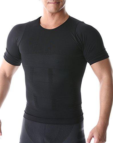 azalee 加圧インナー 加圧シャツ コンプレッションウェア 吸汗速乾 半袖 メンズ ブラック M
