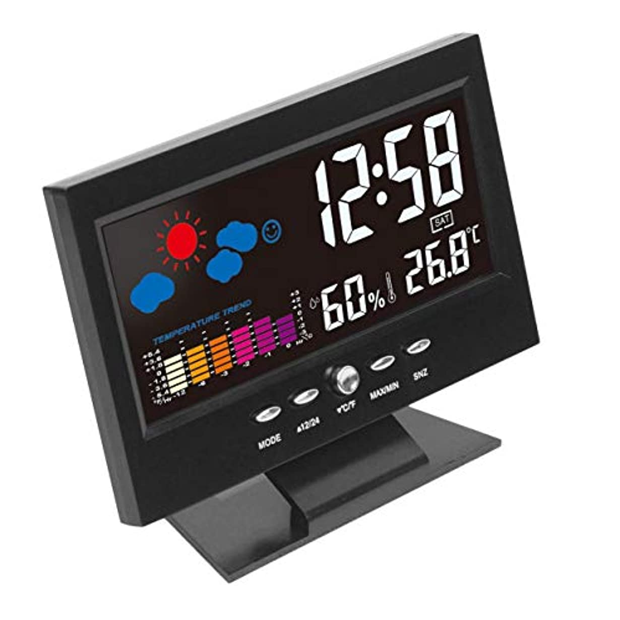 スプレーチャップガラスSaikogoods 電子デジタルLCD 温度湿度モニター時計 温度計湿度計 屋内ホーム 天気予報時??計 ブラック
