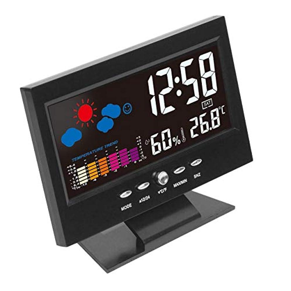 良さ共感する食べるSaikogoods 電子デジタルLCD 温度湿度モニター時計 温度計湿度計 屋内ホーム 天気予報時??計 ブラック