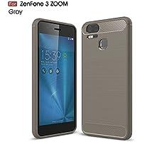 Asus ZenFone Zoom S ZE553KL / Zenfone 3 Zoom ZE553KL ケース MaxKu ソフト 軽量 落下防止ソフトめっきTPUケース 高品質シリコンケース 衝撃吸収カバー (グレー)