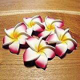 バリ アジアン雑貨 造花 バリウッド:プルメリアの造花かわいい白ピンク色のレギュラーサイズ5個1セット!