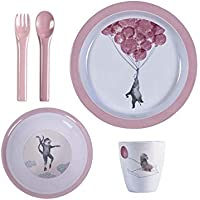 Sebra セバ ベビー メラミン 食器 4点セット 出産お祝い テーブルウェアセット ピンク